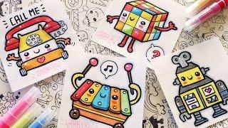 How To Draw Kawaii Toys - Telephone, Xylophone, Rubik and Robot