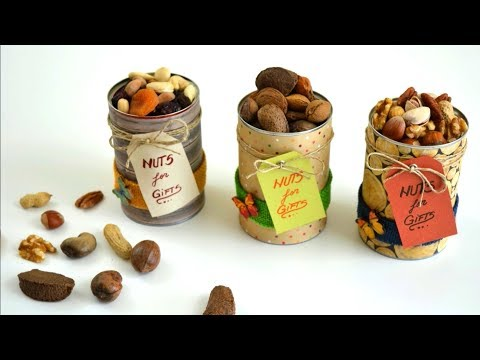 DIY Recycled Crafts Ideas- Creative Ways to Reuse Cans - Nuts & Dried Fruits Holder - Nuts for Gifts