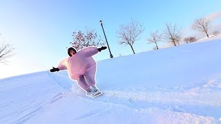 EXTREME FAT SUIT SNOWSKATING!