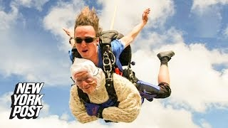 102-year-old woman becomes world's oldest tandem skydiver to fight disease | New York Post