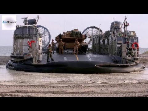 Giant Military Hovercraft • U.S. Marines LCAC In Action • Cockpit View