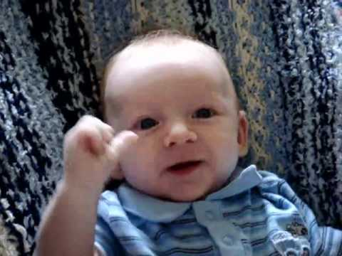 Amazing 8 week old baby's first words - hello