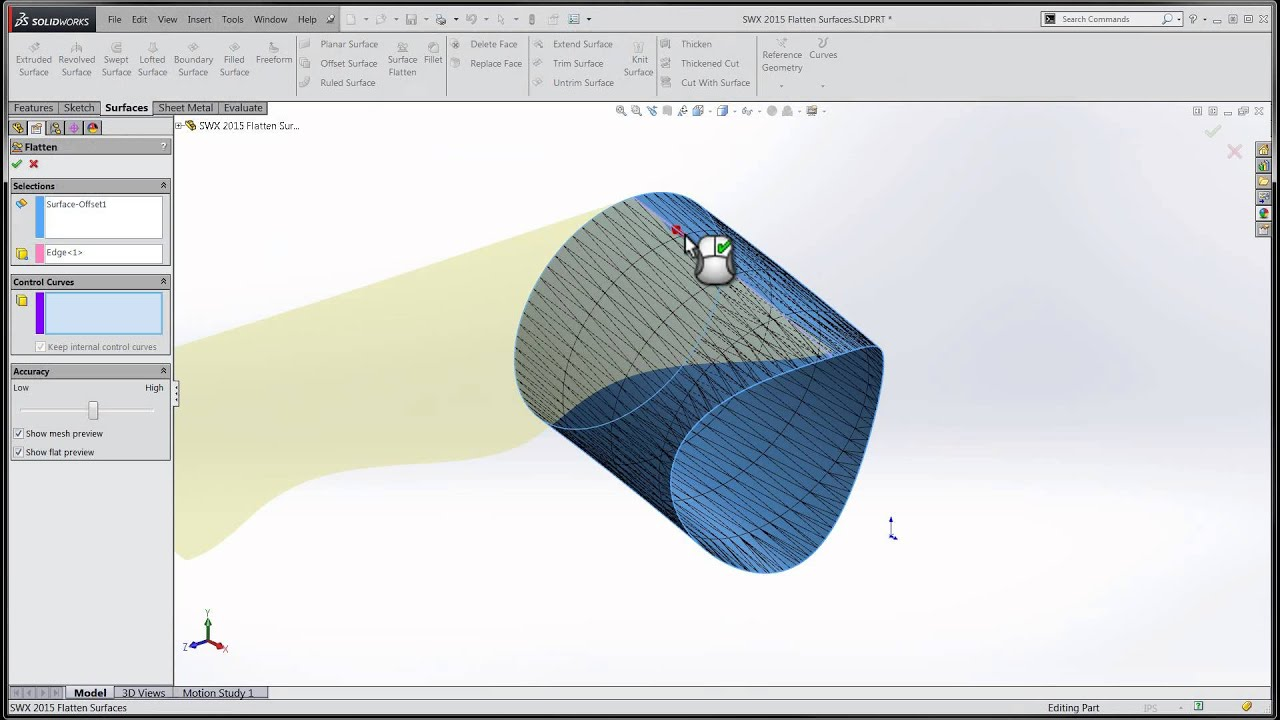 tech tip solidworks 2015 tutorial flattening surfaces youtube