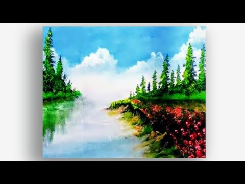 20 sec Landscape Acrylic Painting For Beginner/Painting Techniques/