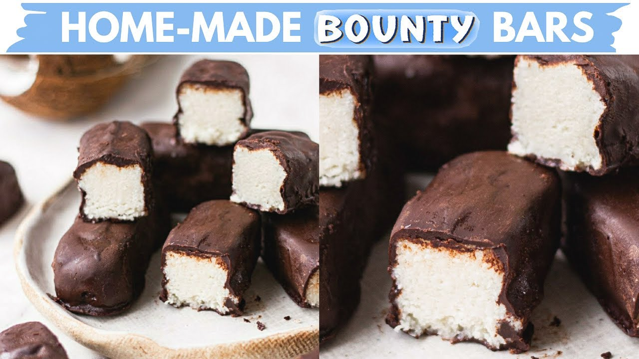 BOUNTY BARS | THREE INGREDIENT RECIPE | HOW TO MAKE BOUNTY BARS AT HOME | no oven coconut chocolate