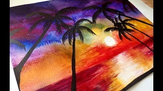 Как научиться рисовать: УРОК 13. Пляжный закат акварелью