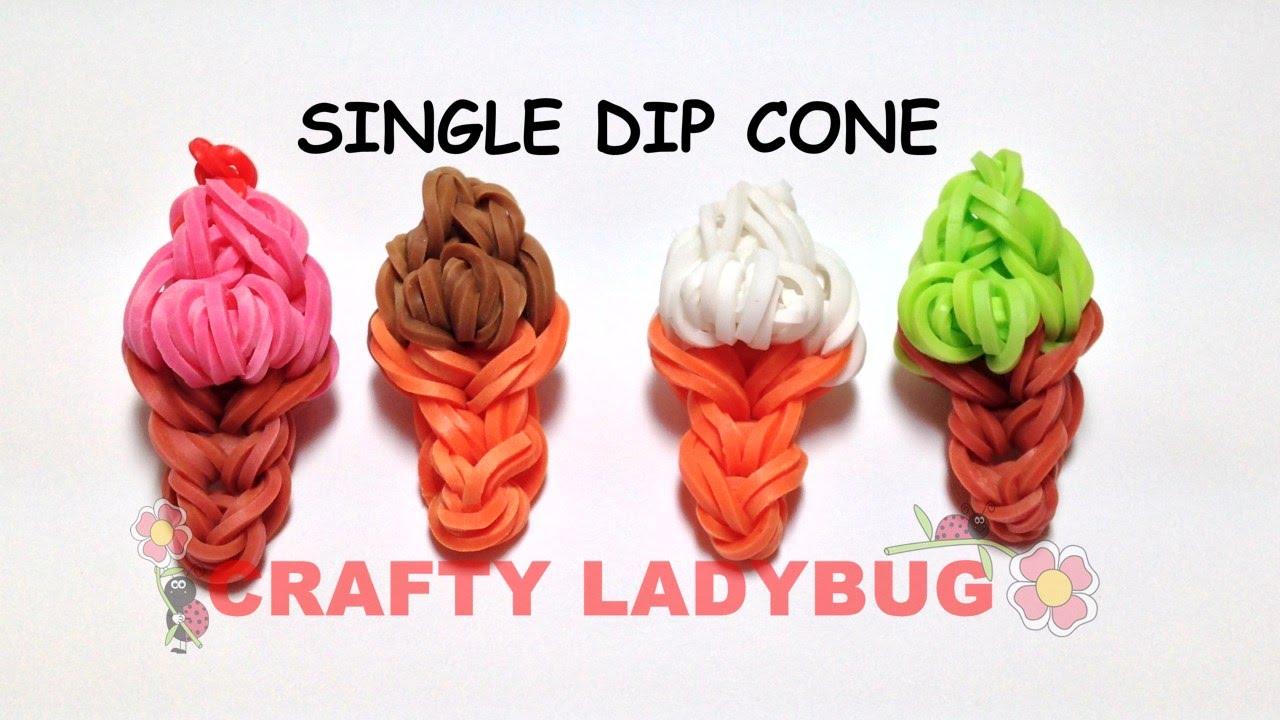 Rainbow loom single dip ice cream cone easy charm tutorial by crafty rainbow loom single dip ice cream cone easy charm tutorial by crafty ladybug wonder loom diy loom ccuart Choice Image
