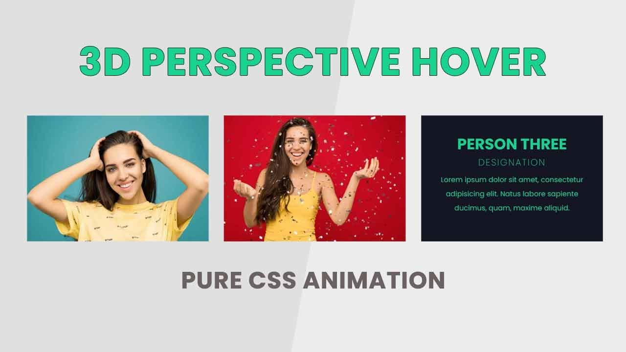 Our team section layout design in bootstrap   3D Perspective CSS Animation