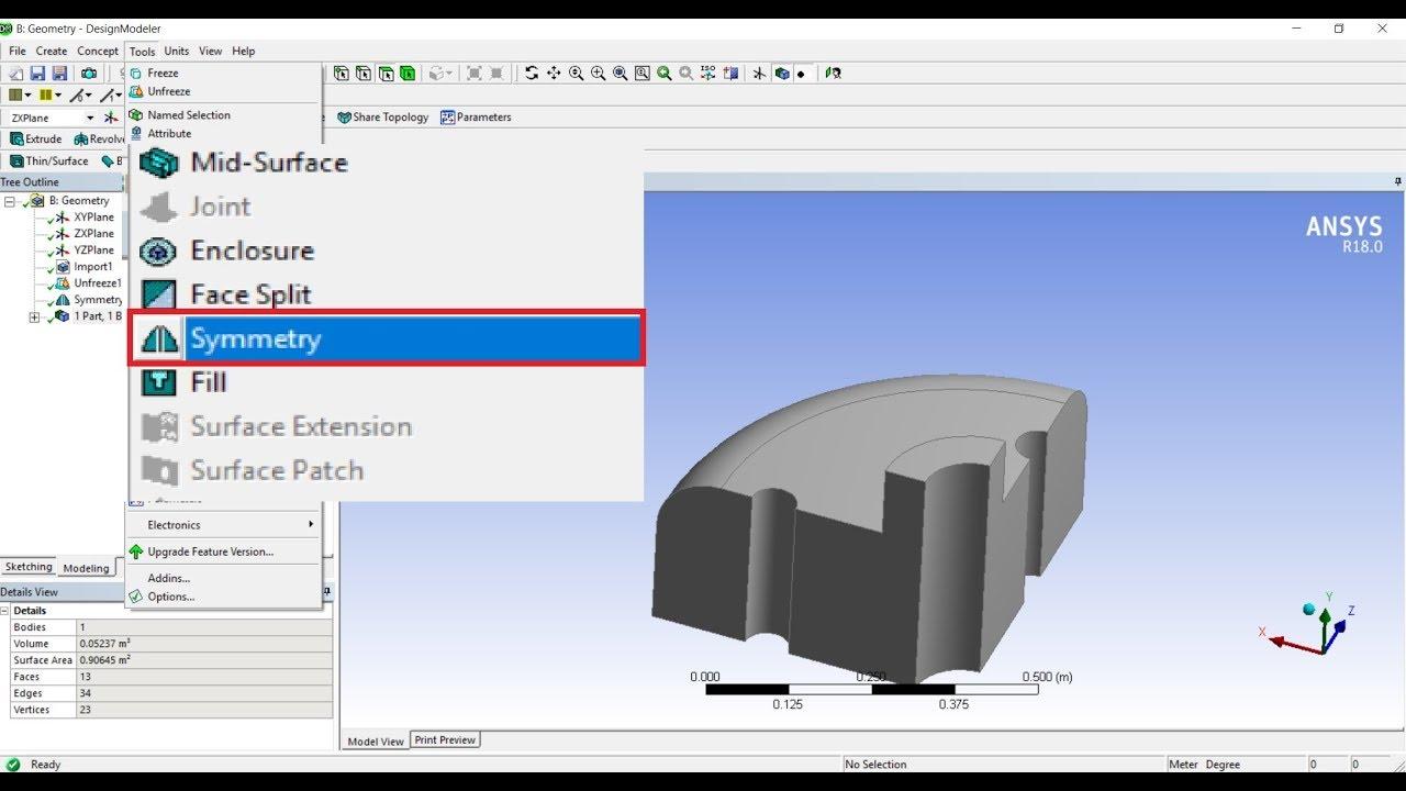 ANSYS Design Modeler - Symmetry - Basic Tutorial 18 - full episodes
