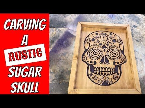 Carving a rustic sugar skull sign