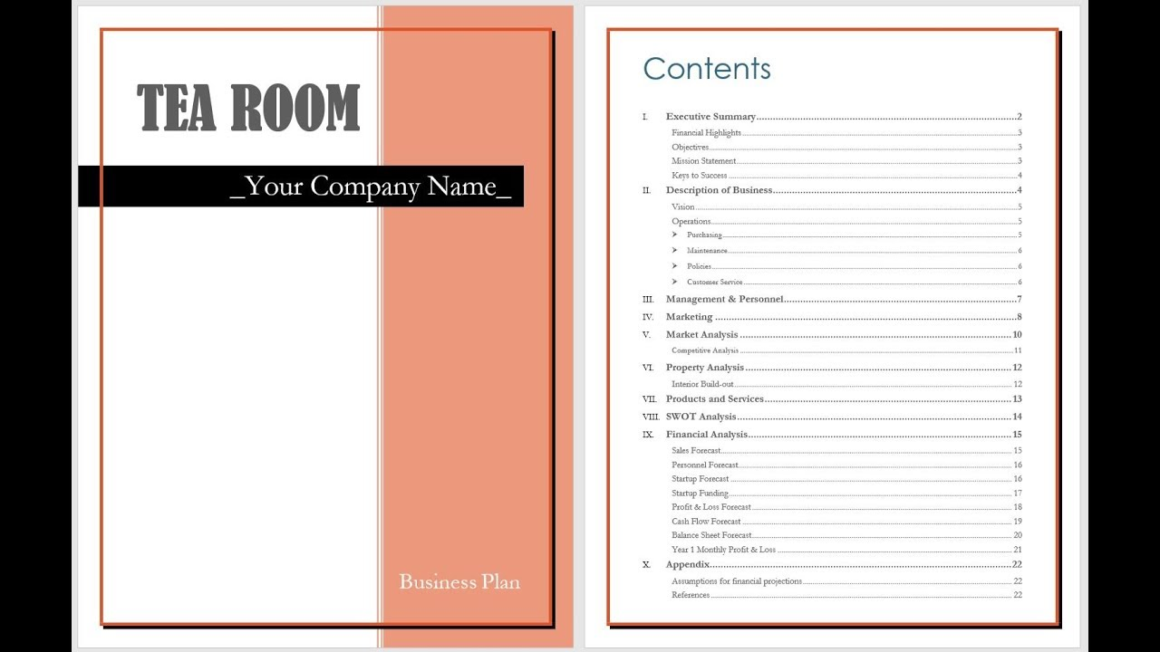 tea room business plan