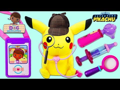 Pokemon Detective Pikachu Visits Disney Jr Doc McStuffins Toy Hospital for a Checkup!