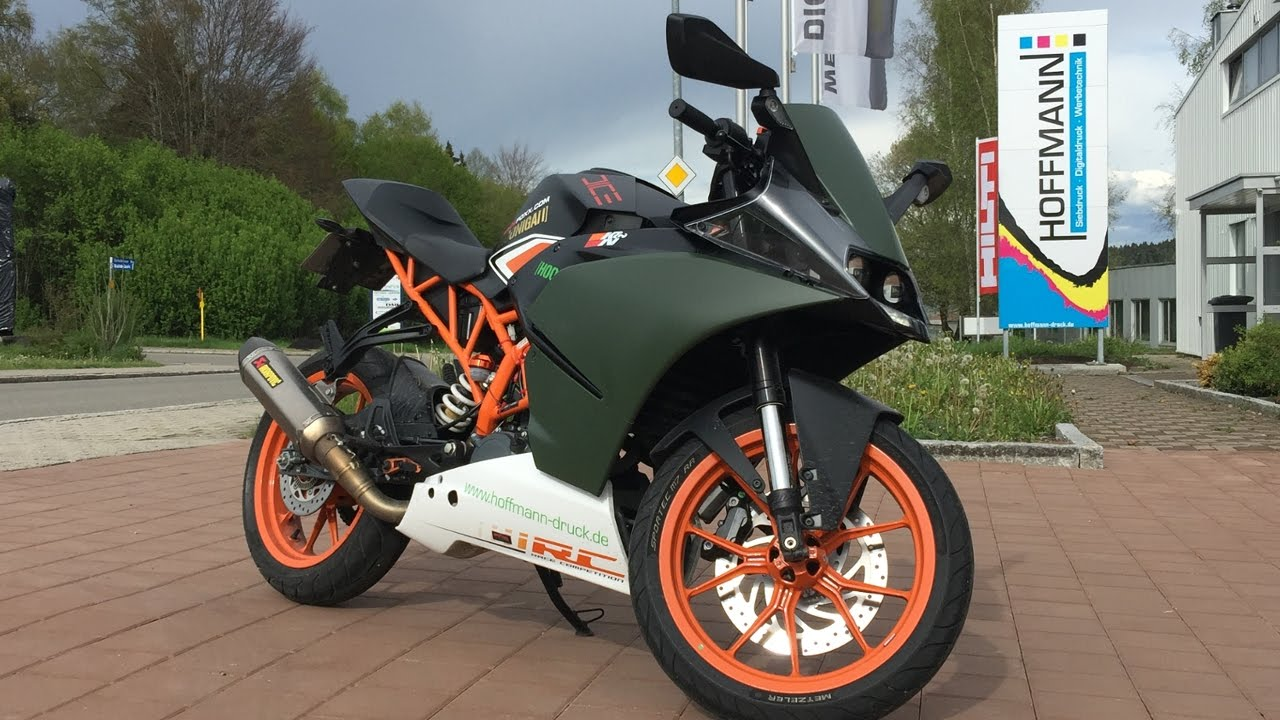 ktm rc 125 tuning in action akrapovic military green. Black Bedroom Furniture Sets. Home Design Ideas