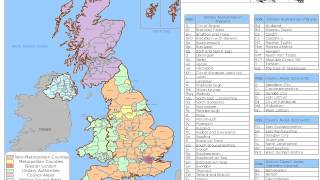 United Kingdom Counties and Unitary Authorities Map