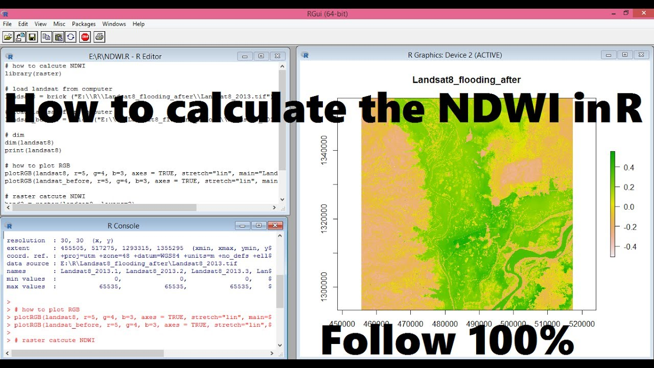 How to calculate NDWI in R | Calculate NDWI with R by Landsat 8