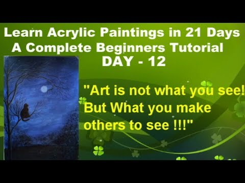 How to paint a moonlit night scene in acrylic- Learn easy acrylic paintings in 21 days I #DAY-12