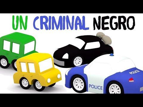 4 coches y el coche negro. Dibujos animados para niños.