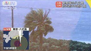 吹き荒れる雨と風 「台風15号」暴風域の八丈島(19/09/08)
