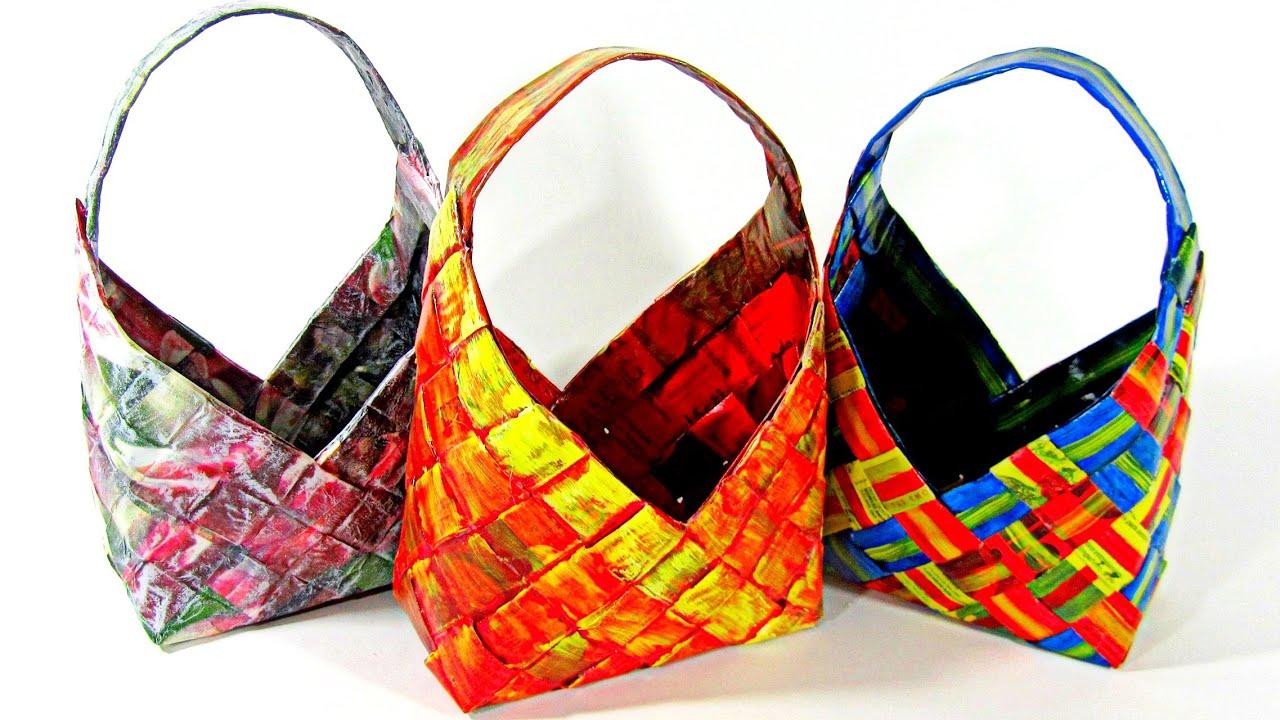 Diy cestas de papel peri dico how to make paper baskets - Cestas de papel de periodico ...