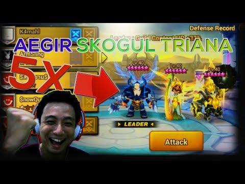 [ENG SUB] Aegir Skogul Triana X5 From TOP 10 Siege Battle - Summoners War Indonesia