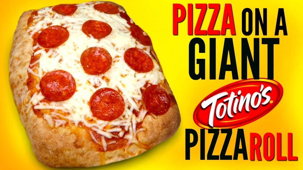 pizza on a giant pizza roll  how to make huge totino's