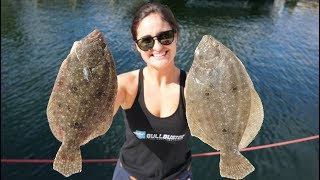 Flounder Fishing off the Rocks! Catch Clean and Cook!