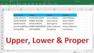 Excel Lowercase, Uppercase, and Proper Functions