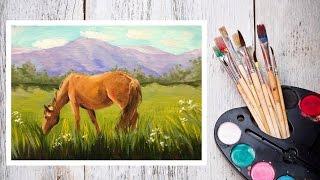 Как нарисовать лошадь! Пишем картину маслом Лошадь на лугу! #Dari_Art