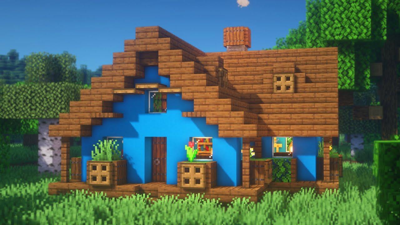 Minecraft: How to Build a Simple Blue Concrete House  Concrete House  Survival Tutorial