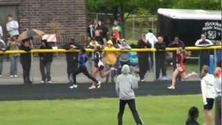 2012 Bolingbrook Jane Addams IESA Sectional Meet -  Charlyncia Stennis 400m lane 4.mpg