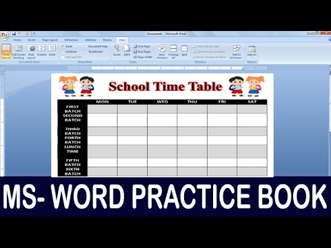 Exercise 06 Ms Word Practice Book How To Make School Time Table - how to make a sign in sheet using word