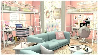 The Sims 4:  GIRLY COLLEGE DORM ROOM + CC LINKS