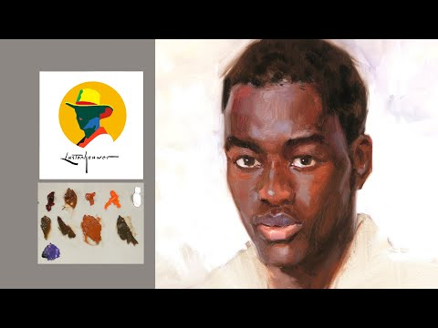 How To Paint Black Skin Colors In A Dark Complexion Portrait. Portrait Painting By Ben Lustenhouwer.