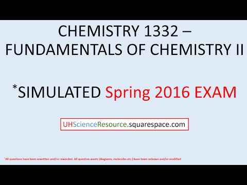General Chemistry 2 (CHEM 1332) – EXAM 1 Spring 2016  SIMULATED