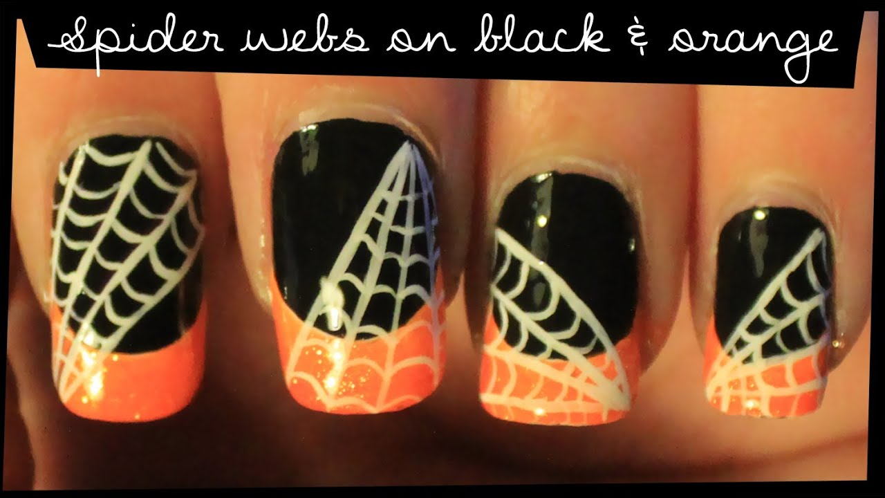 - Spider Webs On Black & Orange Nail Art - YouTube