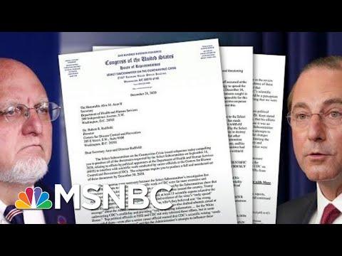 House Committee Subpoenas HHS secretary, CDC Director Over Covid Response | Hallie Jackson | MSNBC