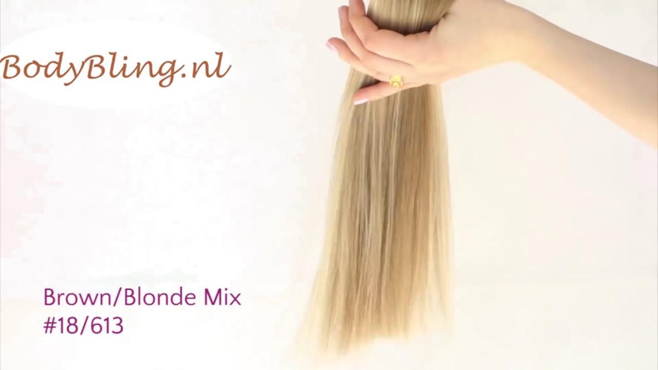 Hair Extensions Kleur 18613 Brown Blond Mix Youtube