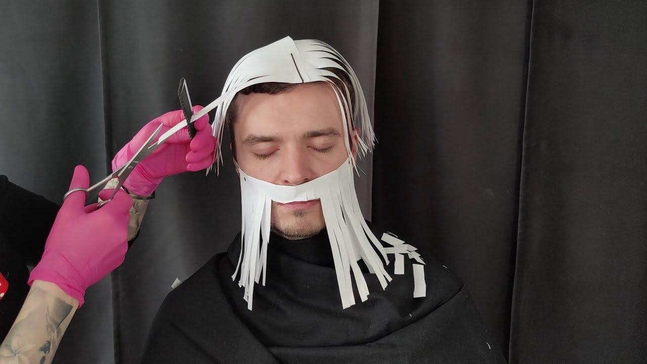 Hairdresser Visit With Paper Hair   Cutting   Hairdryer   Dyeing *ASMR*