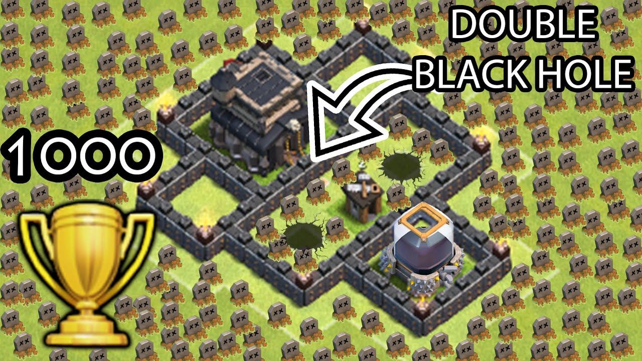 Clash Of Clans Double Black Hole Troll Base  Trophies Won Coc Funny Moments Defense Replays Youtube
