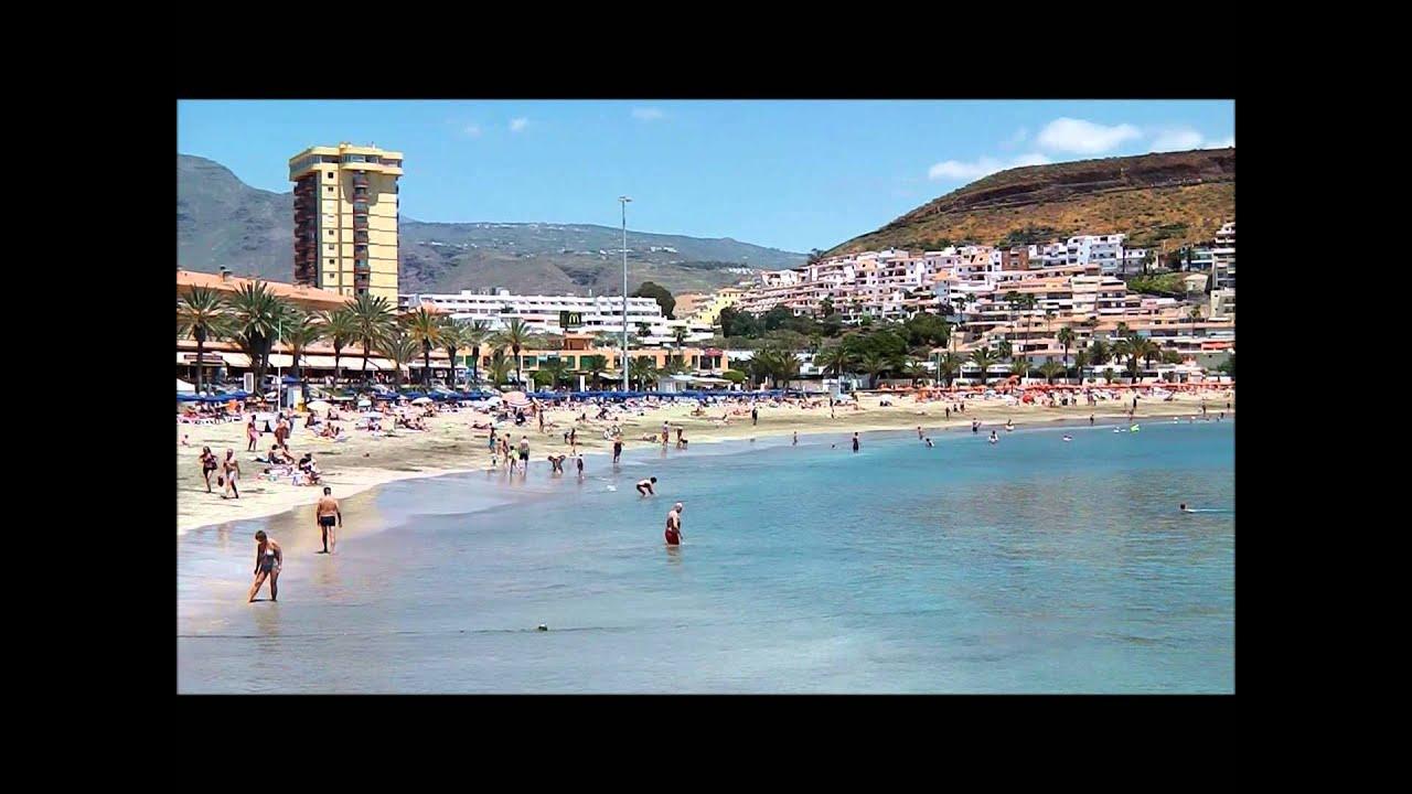 Views of Playa De Las Vistas Beach & Los Cristianos Town, Tenerife - YouTube