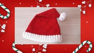 ถักหมวกคริสมาสต์ แบบง่ายๆ ให้ซานต้าซานตี้| Easy crochet Christmas Beanie