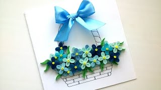How to make a Simple Card with quilling flowers - Easy  DIY Greeting Cards Ideas