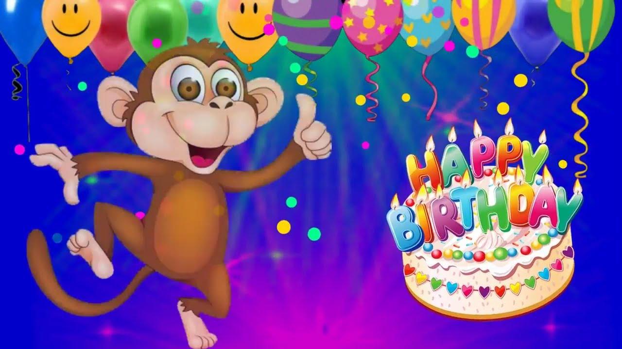 Funny Happy Birthday Song For Children Monkey Happy Birthday Song Youtube