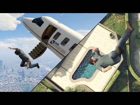 GTA 5 Next-Gen - Jumping Out Of Planes Into Pools!