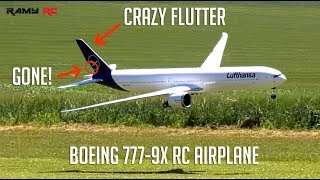 LOST HALF OF THE RUDDER!! saved my 777-9x RC airplane from crashing 😰