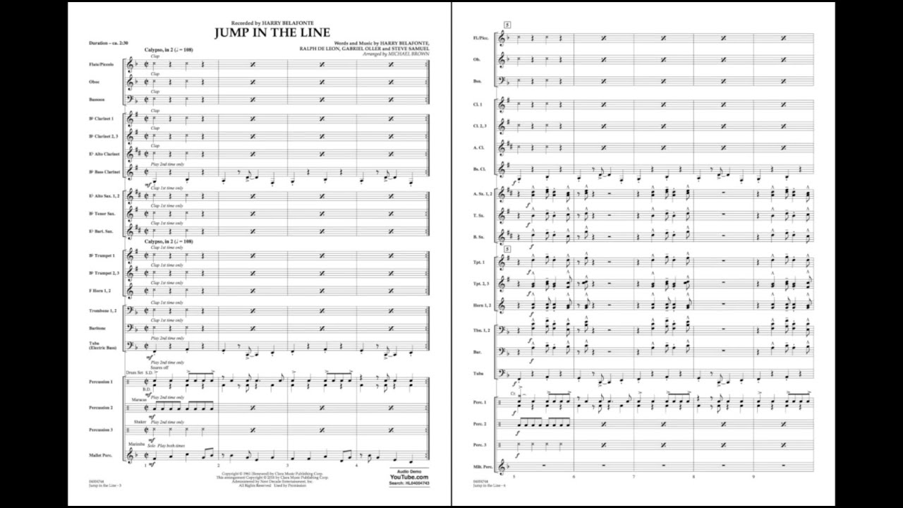 Jump In The Line Arranged By Michael Brown Youtube