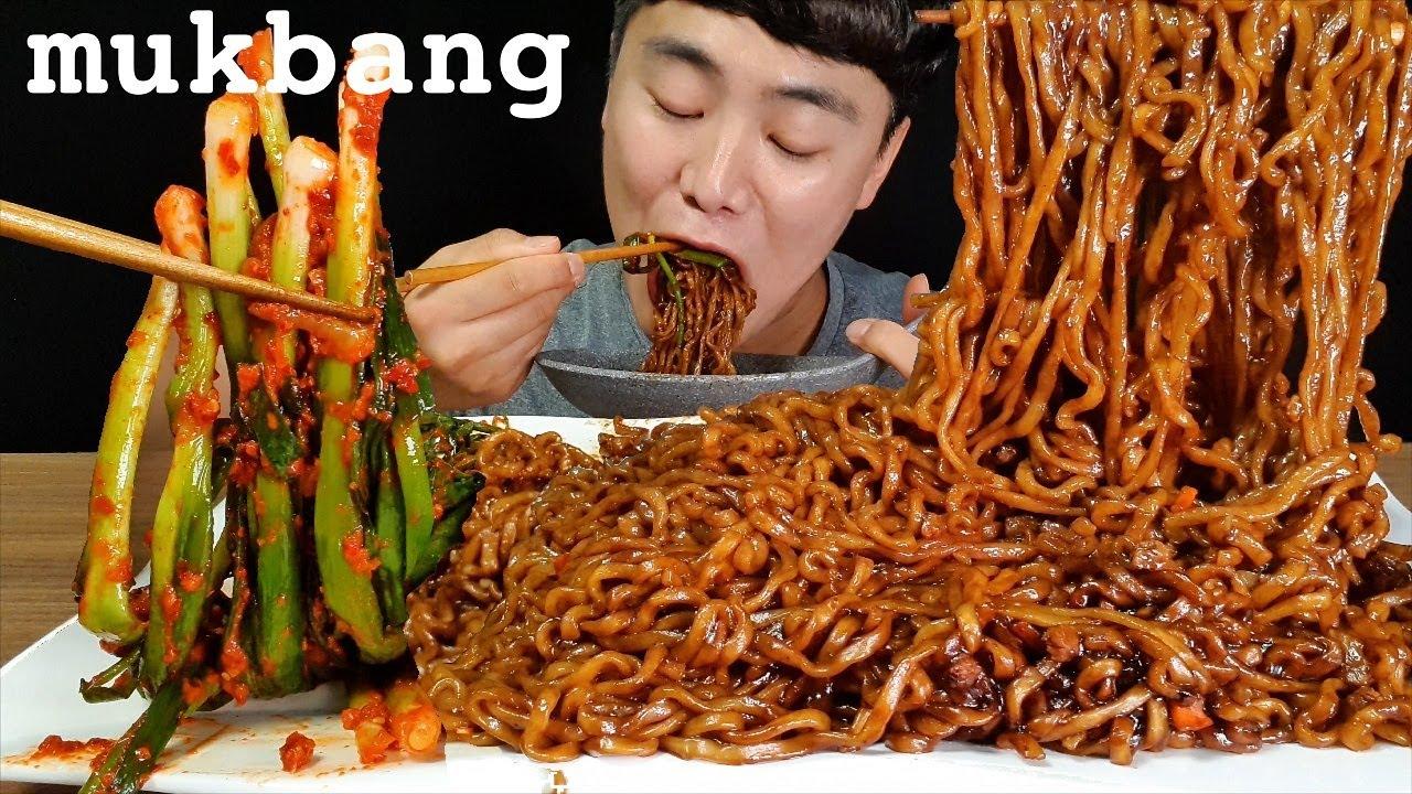 짜파게티 파김치 먹방 ASMR MUKBANG black bean noodles & green onion KIMCHI チャジャンラーメン キムチ eating real sounds
