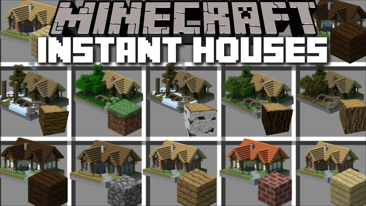 Minecraft INSTANT HOUSE MOD / BUILD INSTANT HOUSES AND LIVE INSIDE THEM !! Minecraft