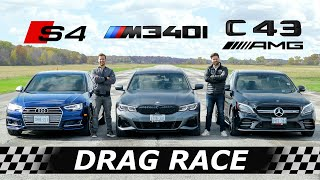 2020 BMW M340i vs Audi S4 vs Mercedes-AMG C43 // DRAG & ROLL RACE