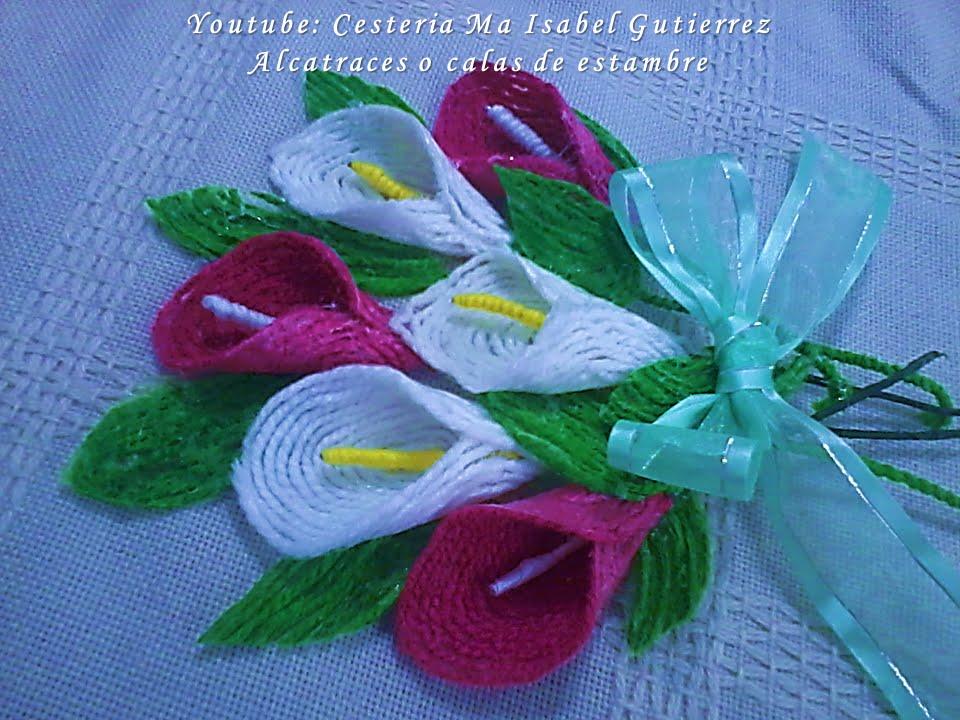 Alcatraces o calas de estambre diy youtube - Flores de telas hechas a mano ...